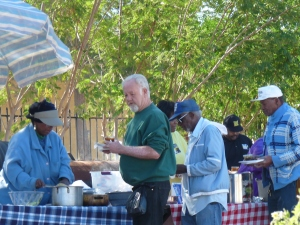 Seniors getting food at the Community Garden