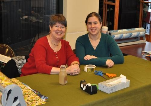 sharon and melinda at gift wrapping