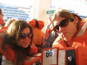 Nora and Sharon in life jackets