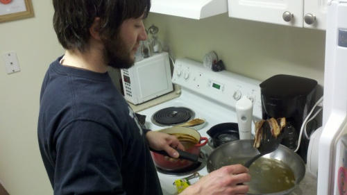 Jay cooking bacon