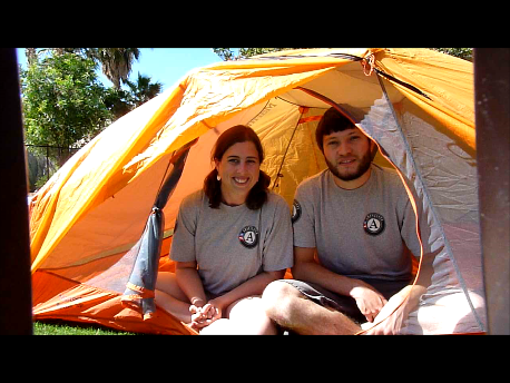 jay and sharon in tent