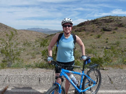 Sharon biking near Lake Mead