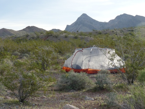 tent at Lake Mead
