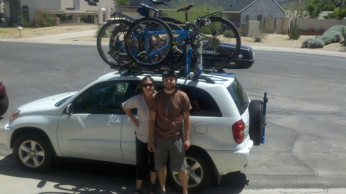 Sharon and Jay with the Rav4 fully loaded