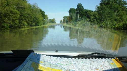 flooded road in Arkansas