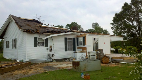 tornado damaged house in Phil Campbell