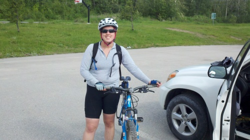 sharon biking in fernie