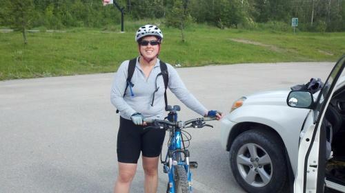 sharon biking in fernie