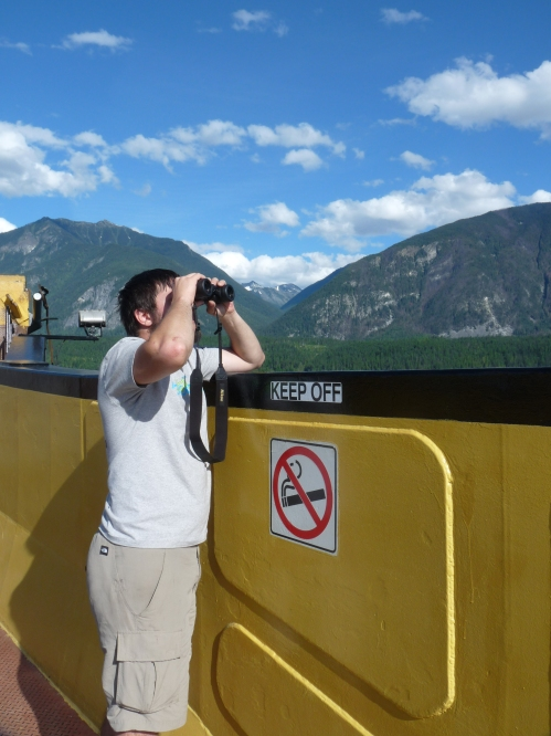 Jay on the inland ferry from Balfour to Kootenay Bay