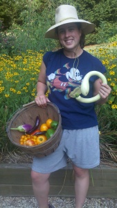 Sharon with the harvest from dad's garden