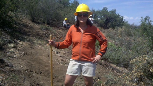 Sharon at Trail building in Prescott