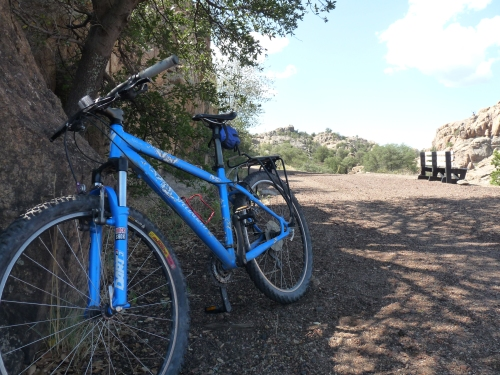 Sharon's bike on Peavine Trail
