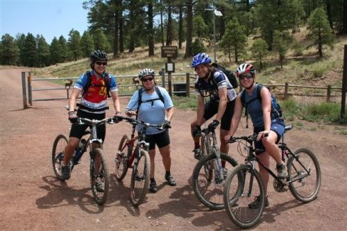 Family ride on Country Club Trails in Flagstaff