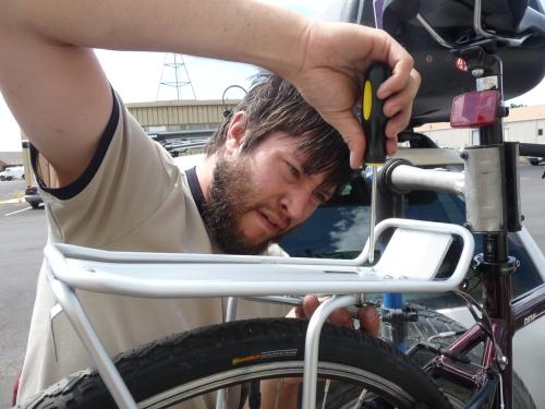jay installing a bike rack