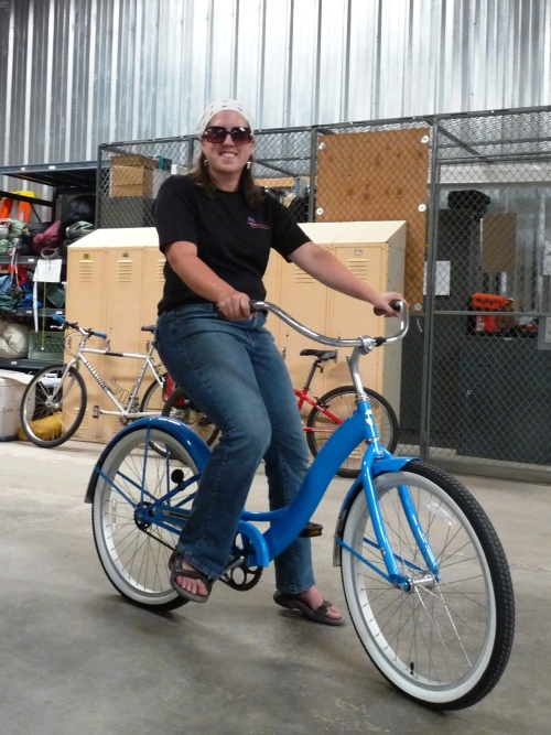 Sharon on the blue cruiser bike