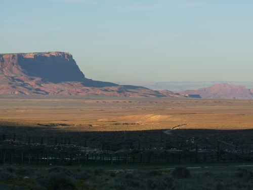 view from Kane Ranch of sunset over Vermillion Cliffs