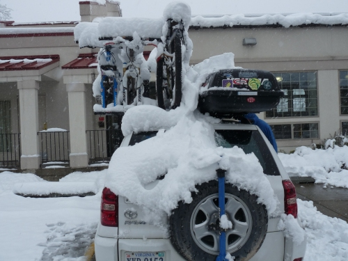 snow on the car in Fort Collins