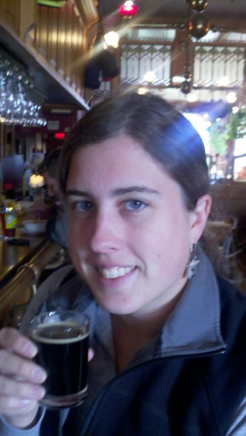 Sharon sampling beer