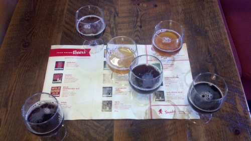 flight at Great Divide Brewery