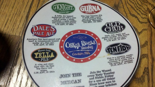 Tasting card at Oskar Blues