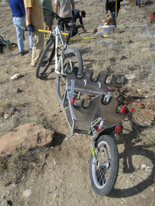 Bike trailer used to haul trail tools, photo by Giselle Smith