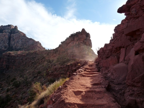 sand blowing on South Kaibab Trail