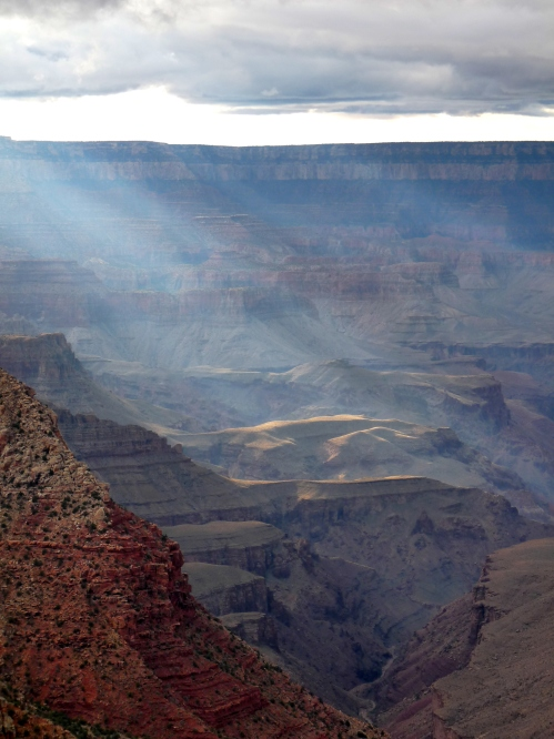 sunset at Grand Canyon, view from point on Desert View Drive