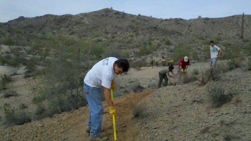 trail work on Pima Wash Trail