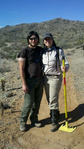 Jay and Sharon standing on new section of the Pima Wash Trail