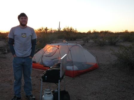 Jay and campsite in Ironwood Forest National Monument