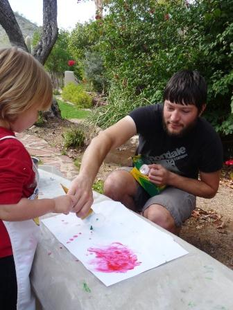 Jay painting with Laya