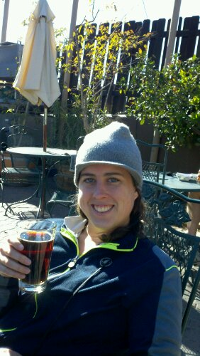 Sharon enjoying beer on the patio at Oak Creek Brewery in Sedona